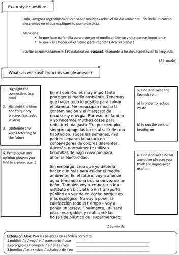 KS4 Spanish: Environment - model writing