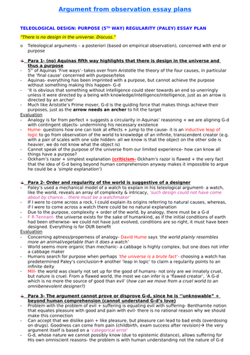 OCR A Level Rs- COMPLETE essay plans for 'Arguments from observation'