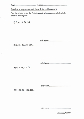 TMA - Quadratic Sequences and the nth Term Homework 1 and ANSWERS