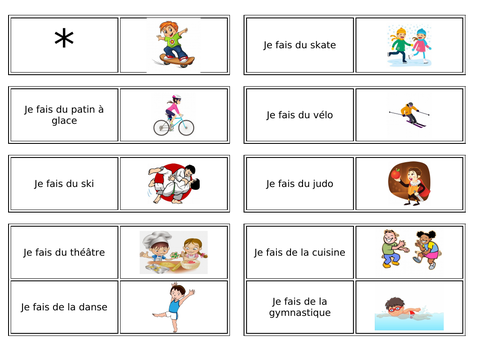 Sports / Hobbies / Activities using the verb faire
