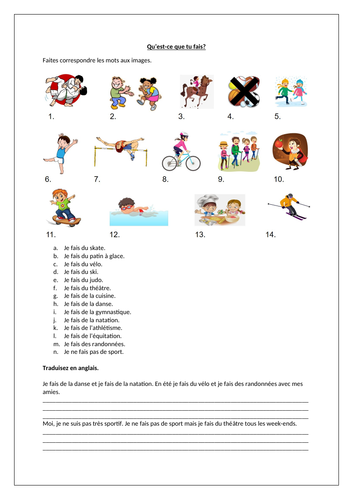 Adverbs of frequency / Sports / Hobbies / Activities using faire