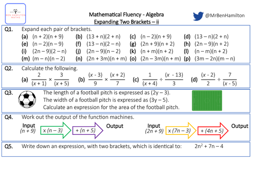 Expanding Two Brackets ii - Fluency: Multiplying Fractions, Area and Function Machines.