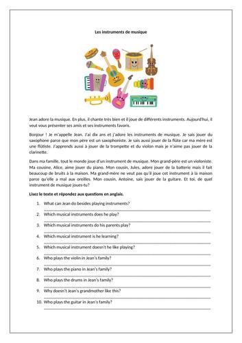 Les instruments de musique / La musique / Musical instruments / Music
