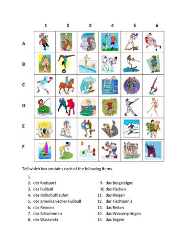 Sportarten (Sports in German) Find it Worksheet