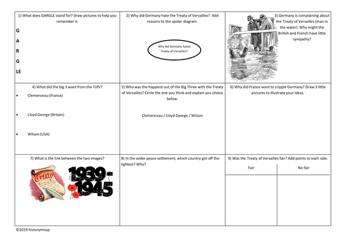Revision: Treaty of Versailles Work Sheet