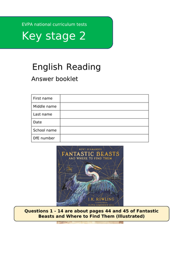 Fantastic Beasts SATs Style Reading Questions