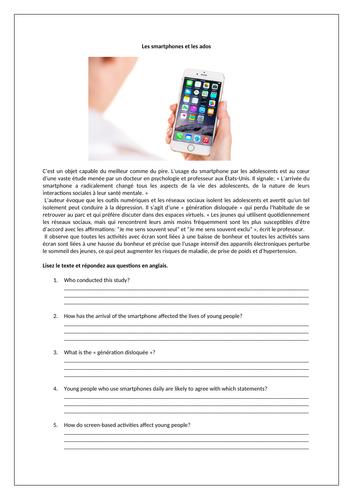 Les smartphones et les ados / Smartphones / Social media / Technology