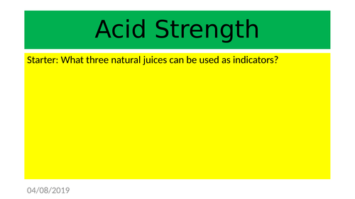 Acid Strength based on KS3 Activate SOW