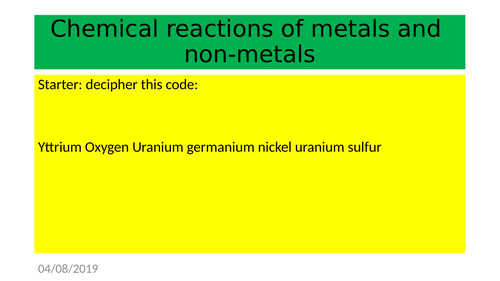 6.2.2 - Chemical Reactions of metals and non-metals