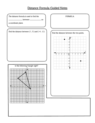 Distance Formula Guided Notes