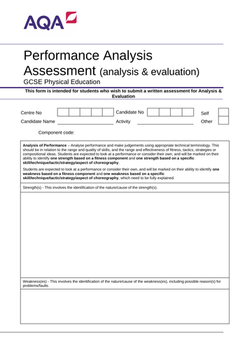 AQA GCSE PE 9-1 Analysis & Evaluation