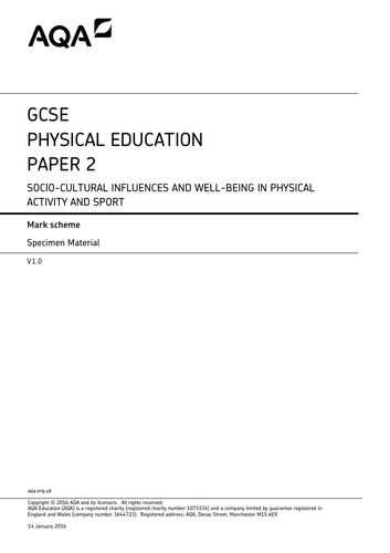 AQA GCSE PE 9-1 Exam paper 2 full lesson content, End of topic assessment and mark schemes.