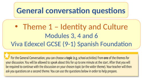 Spanish General Conversation Q&A. Theme 1 Identity and Culture Modules 3, 4 and 6. Edexcel.