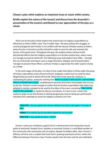 Higher English Model Essay: The Crucible (17/20)