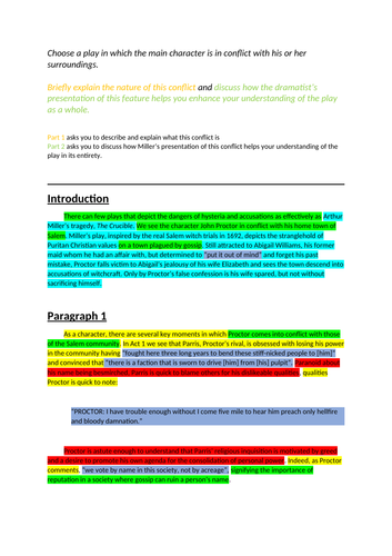Higher English Model Essay: The Crucible (16/20)