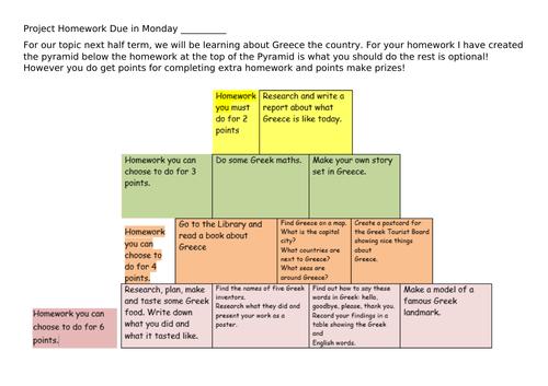 Greek project homework