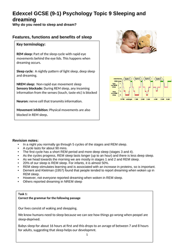 Edexcel 9-1 Topic 9:Sleep and dreaming revision guide