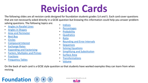 Foundation Revision Cards with answers