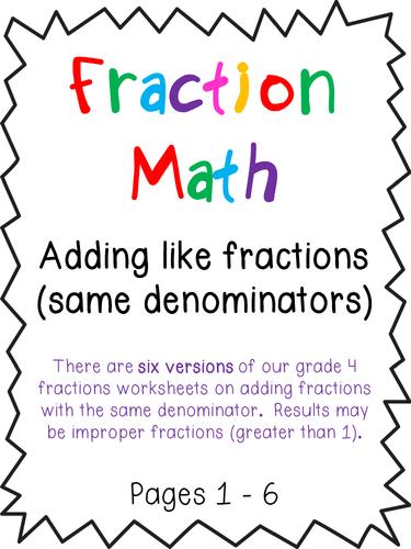 Adding Fractions Worksheets - Same Denominator