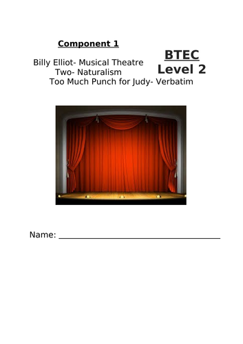 Home Learning Pack- BTEC Level 1/2 Performing Arts Comp 1