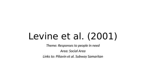 Levine's 'Cross Cultural Altrusim'