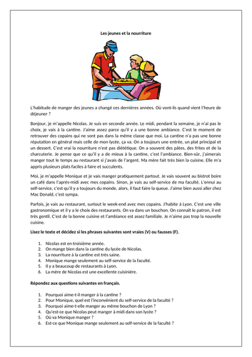 Les jeunes et la nourriture / Young people and food / Eating habits / Eating preferences