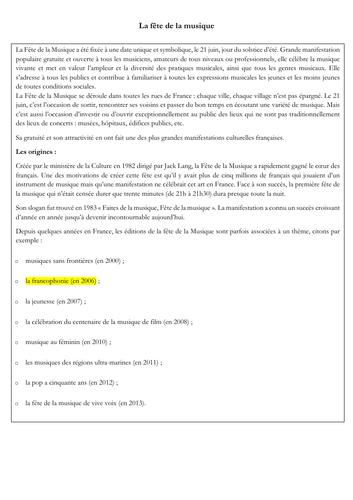 New A level - French - festival -  fête de la musique  (reading - exam style questions)
