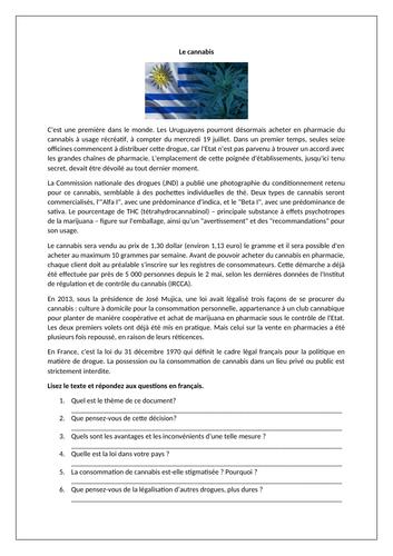 La dépénalisation du cannabis / La drogue / Decriminalisation of cannabis / Drugs