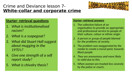 Crime resources for Eduqas GCSE sociology- women and crime, white collar crime, role of the media,