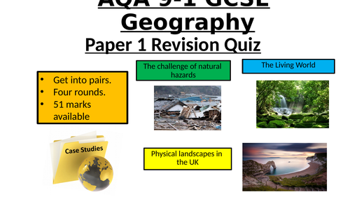 AQA GCSE Geography Paper 1 - Revision Quiz