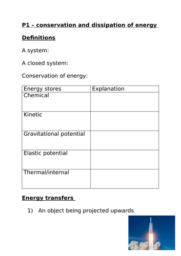 P1 conservation and dissipation of energy summary