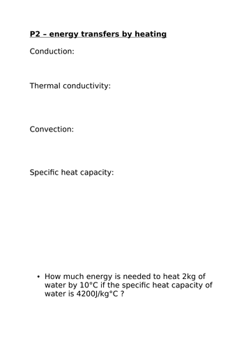 P2 energy transfer by heating