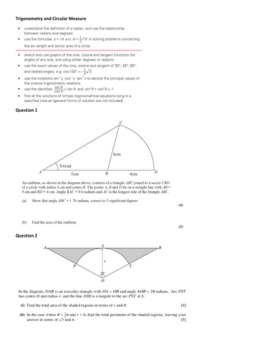 AS Trigonometry and Circular Measure review