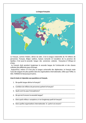 La langue française / French language / Francophonie / French-speaking countries