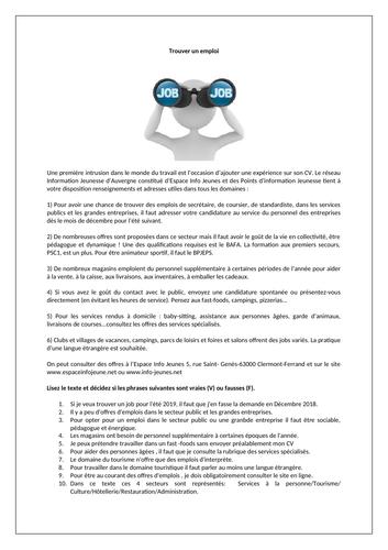 Trouver un job / Les emplois / Finding a job / Looking for a job