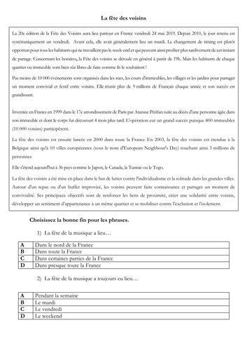 New A level - French - festival - fête des voisins (reading - exam style questions)