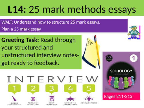 Sociology Research Methods Lesson 14 Revision and planning 25 mark essay