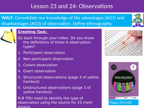 Sociology Research Methods Lesson 24 and 25 Observations