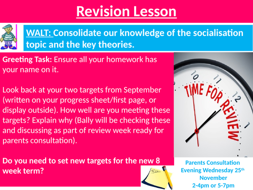 Sociology #SOCCUID Culture, Socialisation and Identity Lesson 21 Welcome Back after Oct. half term