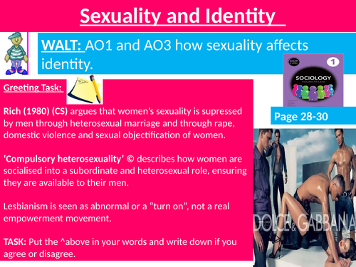 Sociology #SOCCUID Culture, Socialisation and Identity Lesson 23 Sexuality and Identity