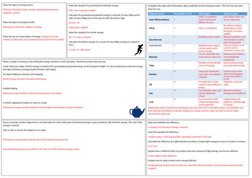 GCSE Physics  energy  revision mat EDEXCEL
