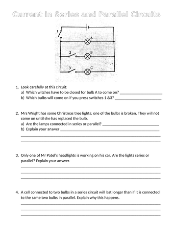 Current in Series & Parallel circuits - worksheet