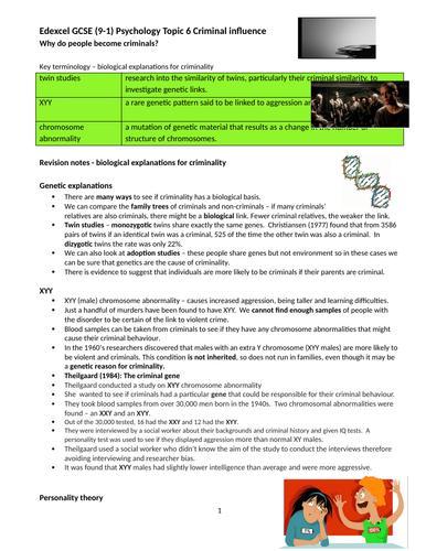 Edexcel 9-1 GCSE Psychology Criminal Psychology revision booklet