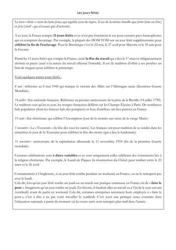 New A level - French - Festival - les jours fériés  (reading - exam style questions)