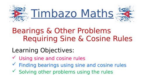 Bearings using Sine and Cosine Rule