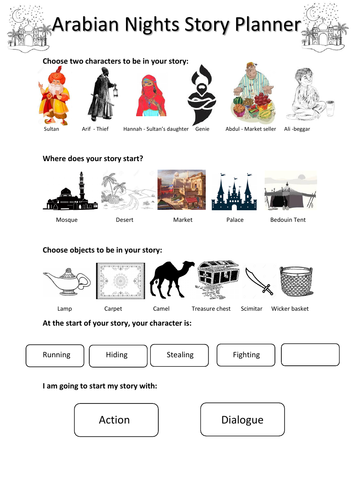 Arabian Nights Story Planner  KS 2