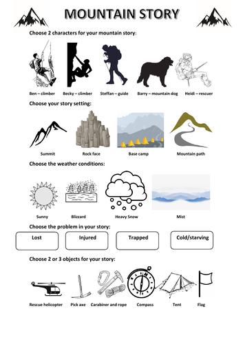 Mountain adventure Story Planner