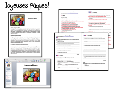 Pâques/ Easter in France- Reading comprehension- GCSE and A Level French