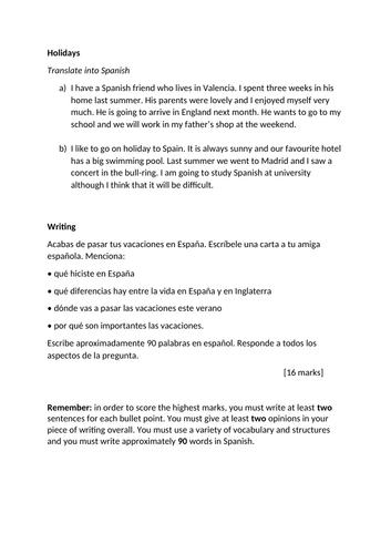 Spanish AQA GCSE translation & writing