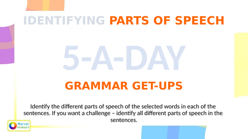 KS2 Grammar Getups - Identify Parts Of Speech